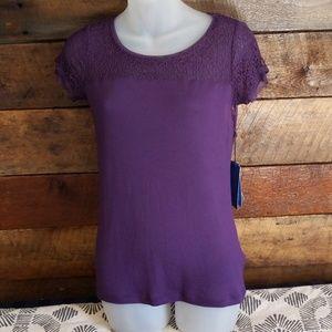 Vera Wang Purple S/S Shirt Extra Small Petite
